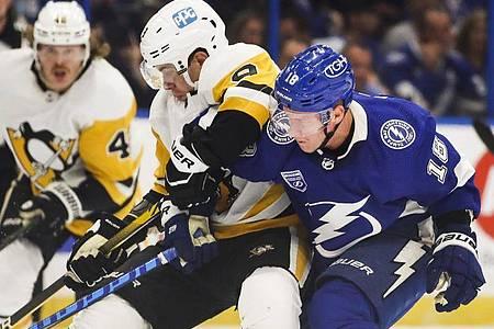 NHL-Champion Tampa Bay Lightning (blaue Trikots) startete mit einer Niederlage gegen die Pittsburgh Penguins in die Saison. Foto: Dirk Shadd/Tampa Bay Times via ZUMA Press/dpa