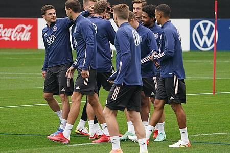 Die deutschen Nationalspieler haben sich in Hamburg zum Training versammelt. Foto: Marcus Brandt/dpa