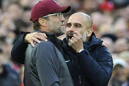 Jürgen Klopp trifft mit dem FCLiverpool am siebten Spieltag der Premier League auf Manchester City und deren Trainer Pep Guardiola. Foto: Rui Vieira/AP/dpa