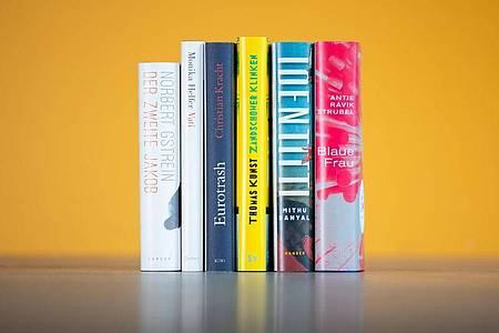 Cover der Bücher, die auf der Shortlist für den Deutschen Buchpreis 2021 stehen. Foto: --/vntr.media/dpa