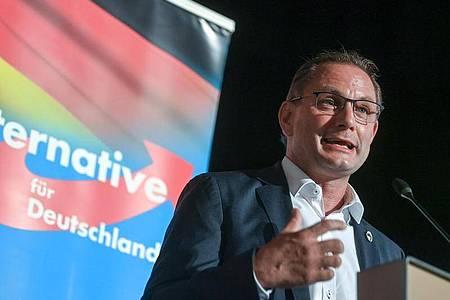 Tino Chrupalla, Bundesvorsitzender der AfD, spricht auf dem Wahlkampfauftakt der AfD Sachsen in Stollberg. (Archivbild). Foto: Hendrik Schmidt/dpa-Zentralbild/dpa
