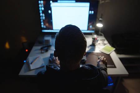 Hauptdarsteller von Shiny_Flakes sitzt im Dunkeln vor seinem PC