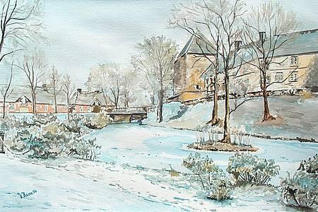 Kalenderbild mit schneebedeckter Häuserfront